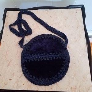 Vintage Velvet/Crochet purse made in Italy